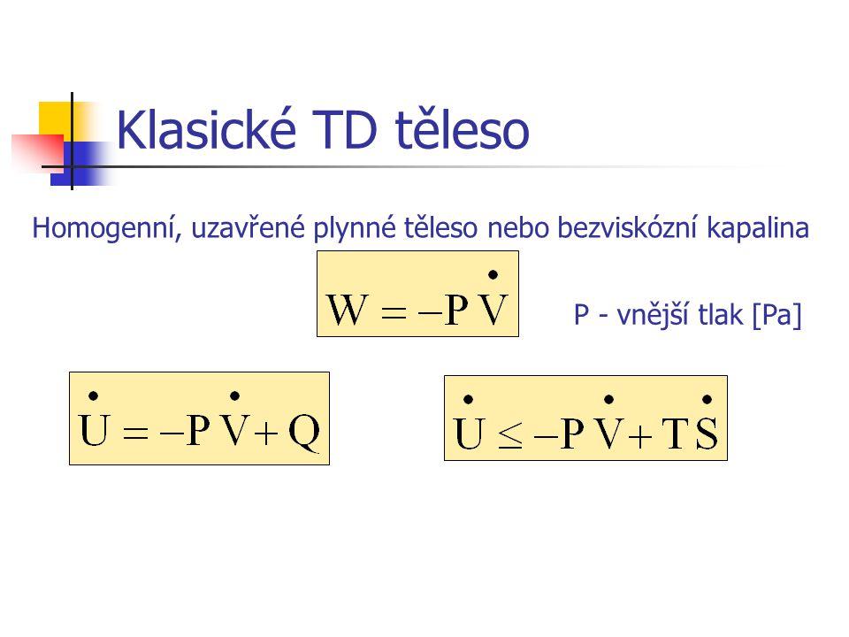 Klasické TD těleso Homogenní, uzavřené plynné těleso nebo bezviskózní kapalina P - vnější tlak [Pa]